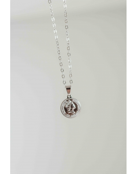 COLLAR MONEDA PLATEADO