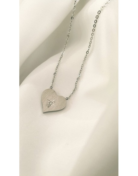 collar corazon plateado